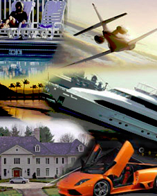 A Collage of  Plane, Vacation, Beach, Boat, House, and Car. Charlotte, NC